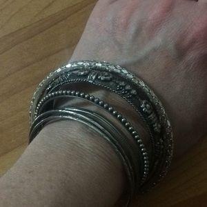 Silver bangle bracelets 6 pack
